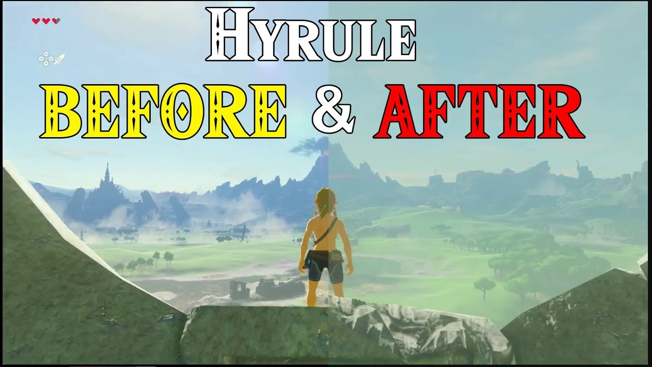 Hyrule BEFORE AFTER World Building In Zelda Breath Of The Wild - Before and after world