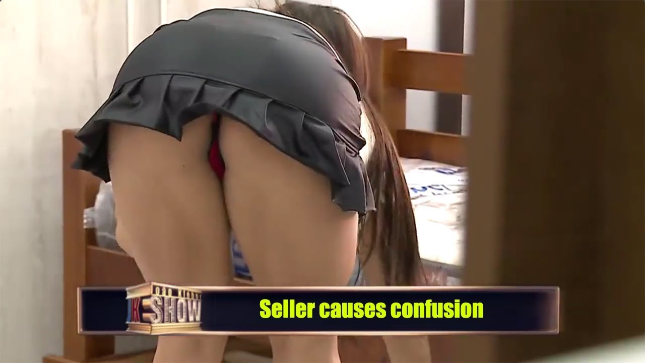 Sexy woman teasing men in the store - sexy pranks