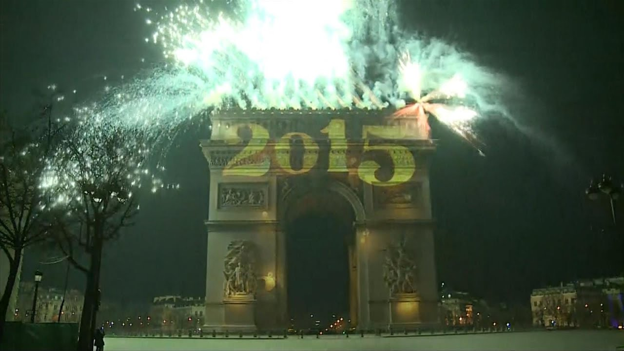 happy new year paris fireworks celebrate arrival of 2015
