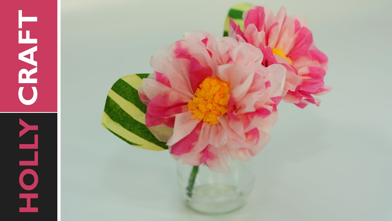 Tissue Paper Flowers Tutorial Easy Youtube