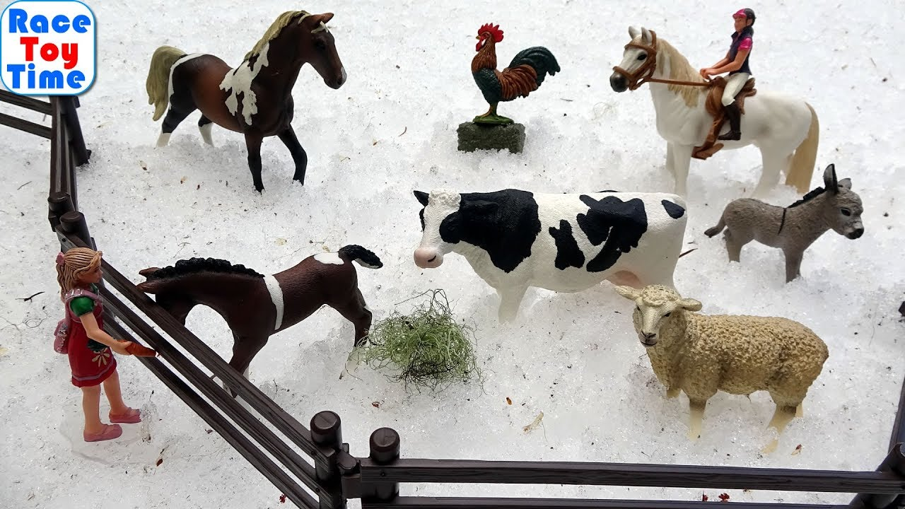 Fun Farm Animals Toys in the Snow For Kids - Learn Animal Names
