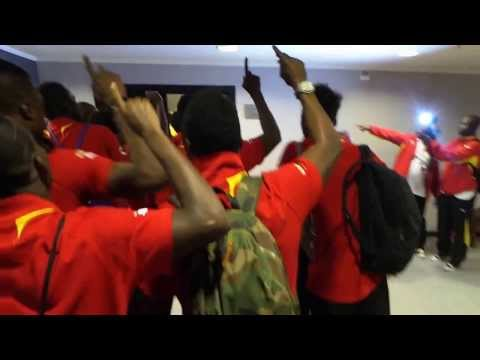 Ghana players sing on arrival in Cairo stadium before World Cup playoff against Egypt