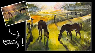 Easy Watercolor, Step-by-Step, How to Paint Two Beautiful Horses. Beginner, big brush, ASMR.