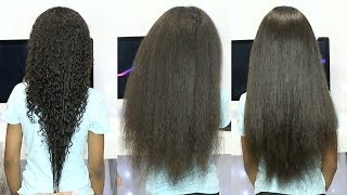 STRAIGHTENING MY DAUGHTERS LΟNG CURLY HAIR!!