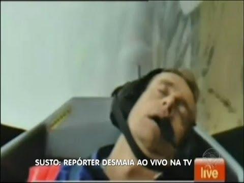 Susto: repórter desmaia ao vivo em programa de televisão