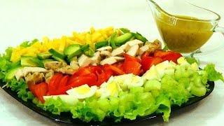 Кобб салат/Cobb Salad. Пошаговый видео рецепт.(Знаменитый американский салат. Салаты без майонеза https://goo.gl/0Cm01L В 100 г - 170 ккал Ингредиенты: стебли сельдере..., 2014-12-02T18:12:28.000Z)