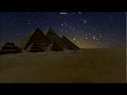 Moonrise, stars and first rising of Sirius at the pyramids