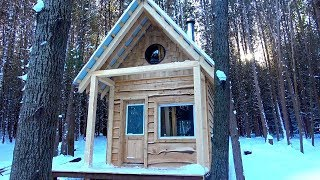 BUILDING a Small Cabin in the FOREST (ASMR) | Start-to-Finish