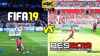 FIFA 19 vs PES 2019 Gameplay u0026 Graphics Comparison | 4K HDR