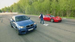 Ferrari 458 Italia vs BMW X6M PP-Performance vs Audi RS6 Evotech and BMW X6M Evotech