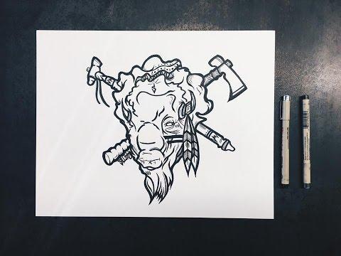 Drawing A Buffalo Warrior