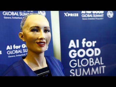 Robot Sophia speaks at Saudi Arabia's Future Investment Initiative 2017