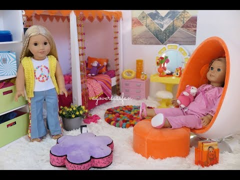 American Girl Doll Julie's Bedroom, Evening Routine, Bathroom, Doll and Outfits!
