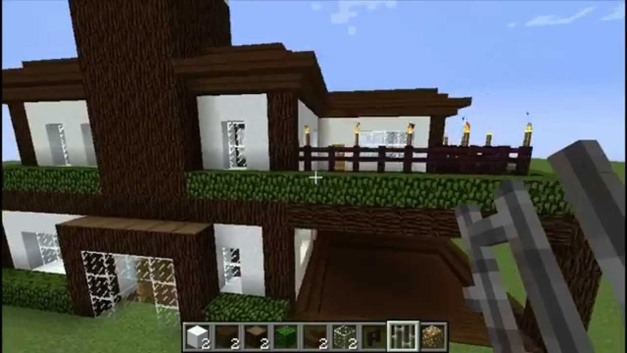 Como construir una casa moderna parte 2 minecraft 1 7 for Como aser una casa moderna y grande en minecraft