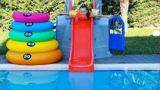 Öykü plays in the pool Funny Kids Video