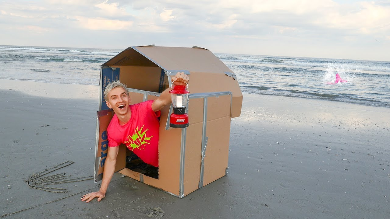 Box Fort At The Beach Overnight Challenge Ocean Monster Spotted