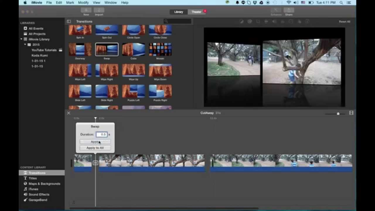 How to add video effects in imovie (imovie '11) to enhance your videos.