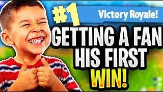 Getting my BIGGEST FAN his FIRST WIN EVER on PC Fortnite
