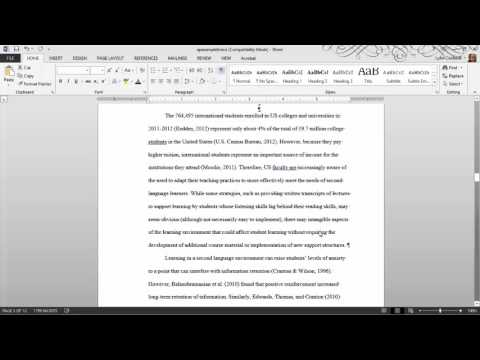 Thesis Formatting:  MS Word Tips