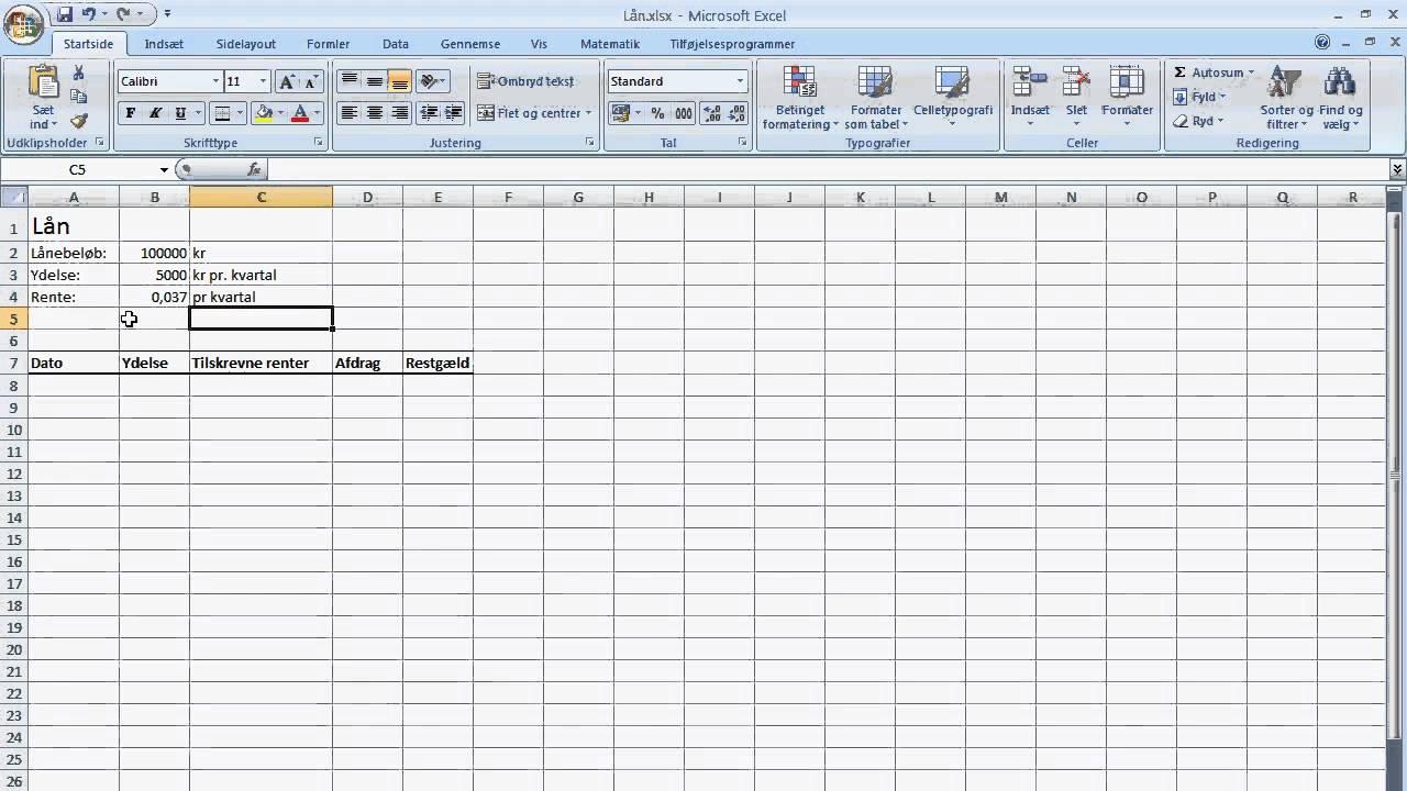 Lån i Excel (del 1) - YouTube