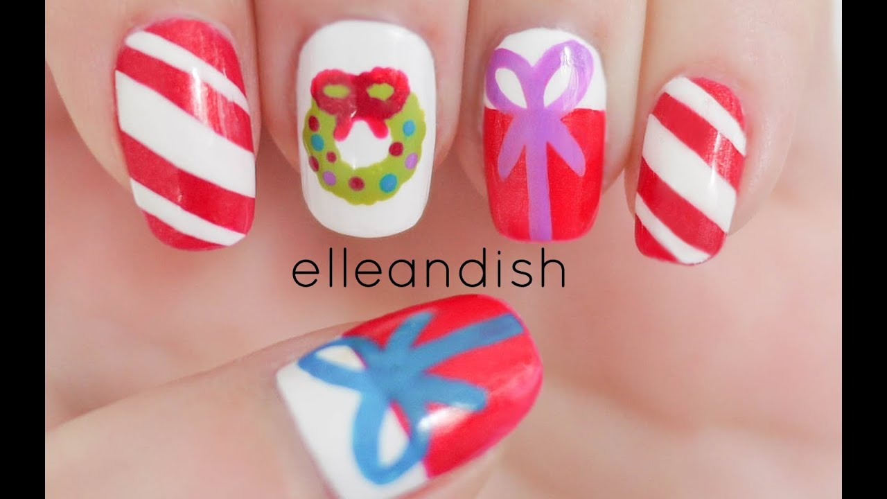 easy christmas nails 2 freehand youtube
