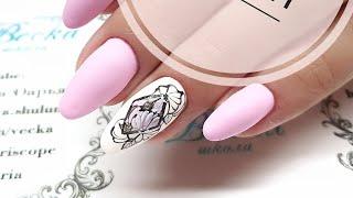 Тату цветы. простой и быстрый дизайн ногтей для начинающих мастеров