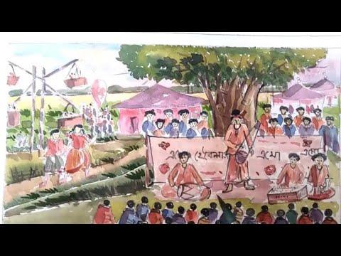 How to draw scenery of Pohela Boishakh /festival of 1 st Pohela Boishakh / village fair step by step