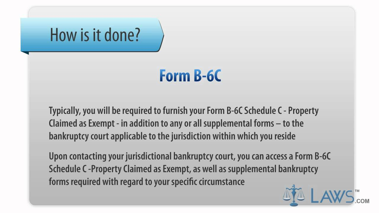 Learn how to fill the form b 6c schedule c property claimed as learn how to fill the form b 6c schedule c property claimed as exempt youtube falaconquin
