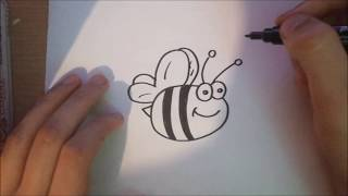 How to draw Cartoon Bee for kids in less than two minutes