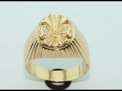 How is made. Men's ring 18 kt gold hand made with coat of arms