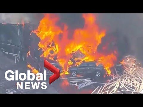 Massive fire ignites after multi-car, truck pile-up on Denver highway