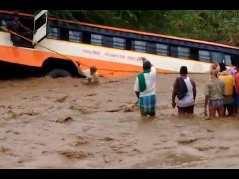 Bus falls in lake due to landslide in Karnataka's Gadag, rescue operation on