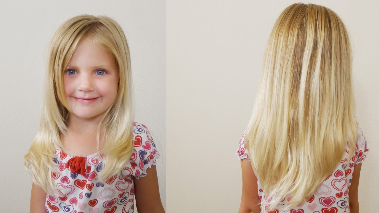 Hair Styles With Long Layers: How To Cut Girls Hair // Long Layered Haircut For Little