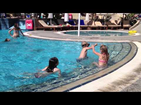 Playing at the pool of the Hotel Mediterranean Beach - Limassol, Cyprus