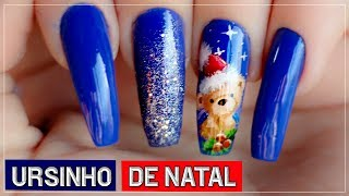Nail Art Ursinho de Natal -Nill Art