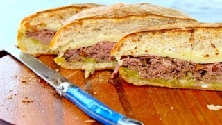 Sandwich Recipe Beef Sandwich with Cheese and Pesto by CookingForBimbos.com