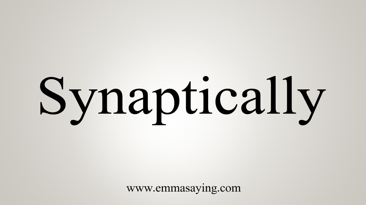 How To Say Synaptically image