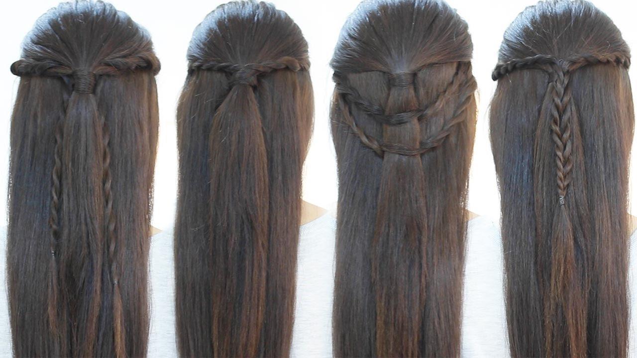 4 Peinados Rapidos Para Cada Dia Semirecogidos Youtube - Semi-recojidos