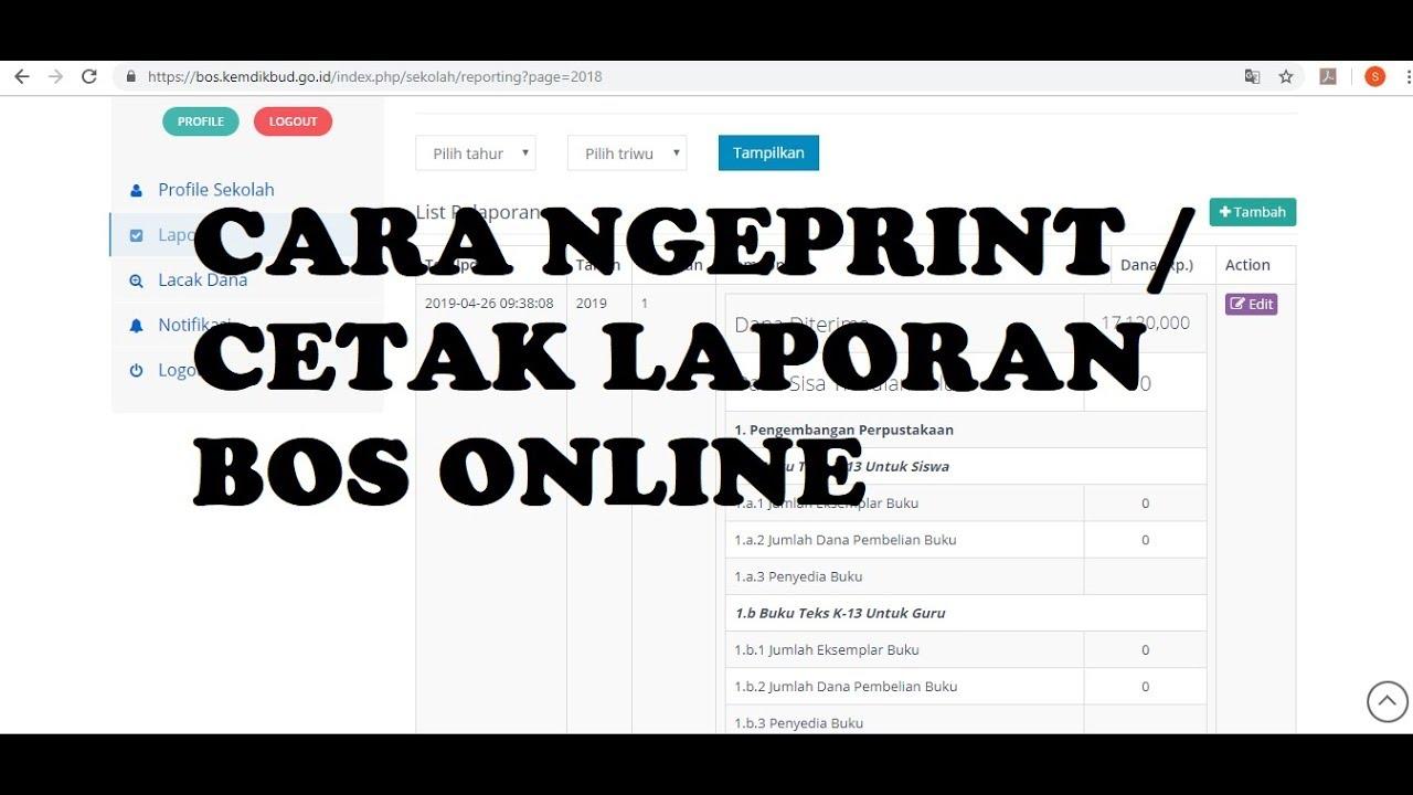 Cara Mudah Print Atau Cetak Laporan Bos Online Youtube