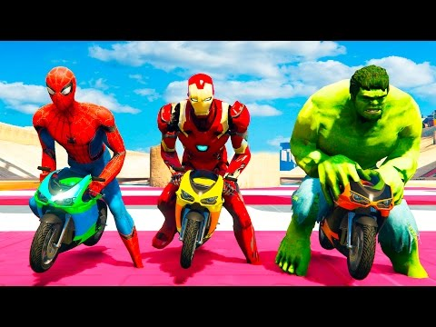 Thumbnail: THE AVENGERS: MOTORBIKE RACE! w/ Hulk, Spiderman & Iron Man. Fun Superheroes for Kids and Babies
