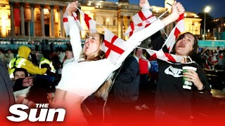 England fans celebrate making history at Euro 2020 semi finals as they beat Denmark