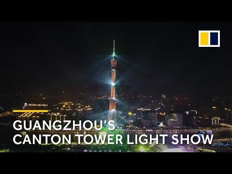Chinese light show: Guangzhou's Canton Tower lights up to celebrate Lunar New Year