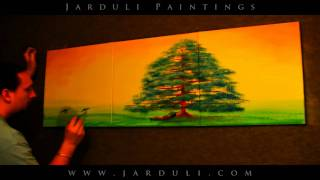 83. Painting surreal landscape on three canvases