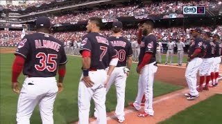 2017 Cleveland Indians are introduced to their faithful fans before the home opener