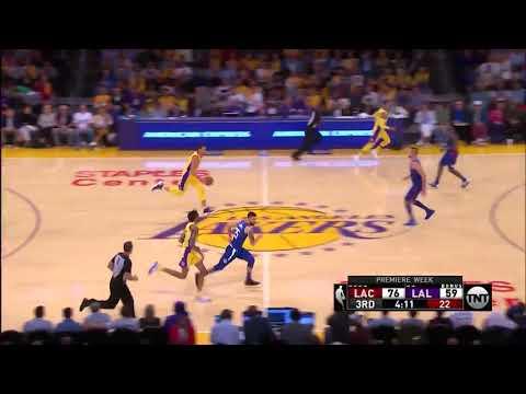 Larry Nance Jr. blocks DeAndre Jordan - Los Angeles Lakers vs. Los Angeles Clippers - 19/10/2017