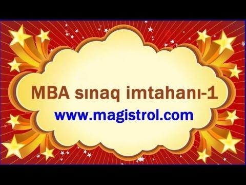MBA sinaq imtahanı 1 Müəllim: Rəşadət Şərifov