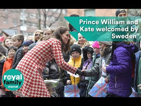Prince William and Kate welcomed by Swedish counterparts
