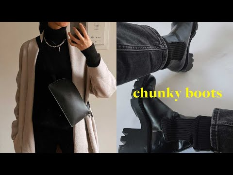 HOW TO STYLE ZARA CHUNKY BOOTS | 20 Combat Boot Outfit Ideas + Biker Boot Lookbook