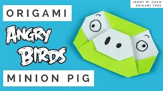 Angry Birds Craft - Origami Angry Birds - Green Minion Pig