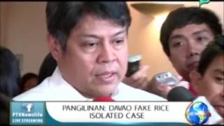 [NewsLife] Sec. Pangilinan: Davao fake rice isolated case || July 10, 2015